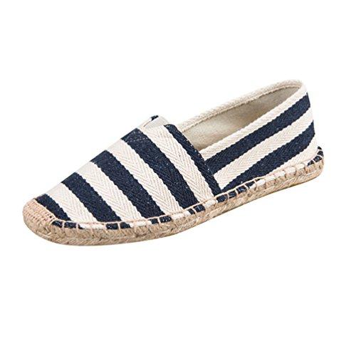 YOUJIA Hombre Mujer Rayas Alpargatas Plano Slip-On Canvas Casual Zapatos de Verano (#3 Azul, EU 39)
