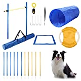 Yiotl Dog Agility Equipment Set, 30 Pcs Outdoor Dog Obstacle Training Course Kit, Including Frisbee, Pause Box, 2 Tunnel, Adjustable Hurdles, 8 Weave Poles, Whistle, Carrying Bag
