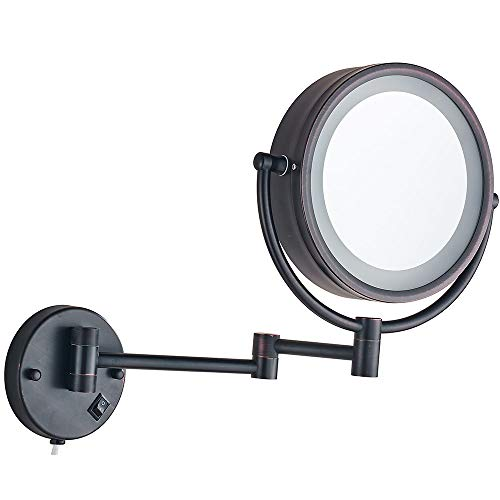 Cavoli Wall Mounted Makeup Mirror with LED Lighted Oil Rubbed Bronze 10x Magnification, Double Sided 8.5-inch