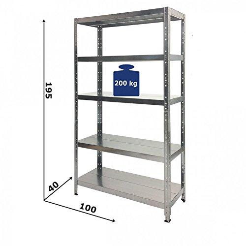 GRIMA - SCAFFALE Alta Portata in metallo ZINCATO 100 X 40 X 195h Portata 1.000 Kg