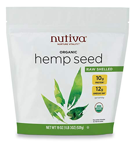 Nutiva Organic Raw Shelled Hemp Seed, 19 Ounce | USDA Organic, Non-GMO, Non-BPA | Whole 30 Approved, Vegan, Gluten-Free & Keto | 10g Protein and 12g Omegas per Serving for Salads, Smoothies & More