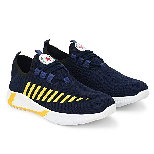 Jamesh Bond Men's Tennis Shoes Lightweight Athletic Breathable Non Slip Gym Sneakers Running Walking Casual Fashion Shoes and Sports Shoes (Blue, Numeric_5)