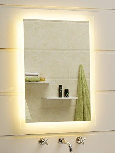 Badspiegel LED Spiegel GS084N mit Beleuchtung durch satinierte Lichtflächen Badezimmerspiegel (40 x 60 cm, warmweiß)