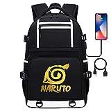Mochila Informal Anime Naruto Teenager College School, Compatible con Tableta portátil de 15, Puerto de Carga USB 17 Pulgadas Estilo-4