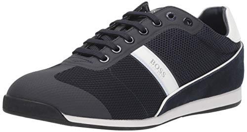 Hugo Boss BOSS Green Men's Akeen Suede Sneaker, Dark Blue, 7 M US