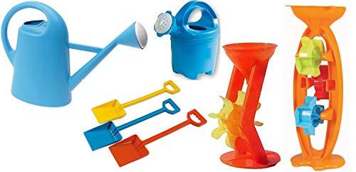 Androni Giocattoli Set 7 Pezzi da Spiaggia - 2 Mulinelli, 2 Annaffiatoi, 3 Palette - Modelli e Colori Assortiti Casualmente
