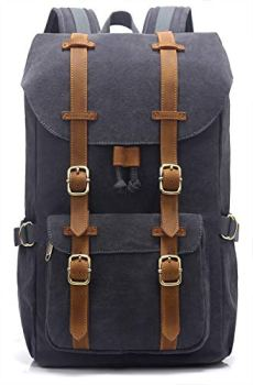 """EverVanz Outdoor Canvas Backpack, Waterproof Travel Hiking Camping Rucksack Pack, Large Casual Daypack, College School Backpack, Shoulder Bags Fits 15"""" Laptop Tablets"""