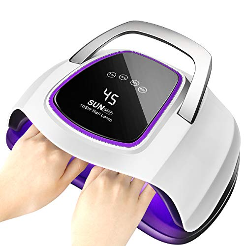 UV Gel Nail Lamp,Powsure 108W Nail Dryer Portable for Fingernail or Toenail with 4 Timer Settings,LCD Touch Screen&Auto Smart Sensor,Professional Gel Polish Art,Curing Lamp Suitable Home Use and Salon