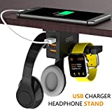 Headphone Stand with USB Charger COZOO Under Desk Headset Holder Mount with 3 Port USB Charging...