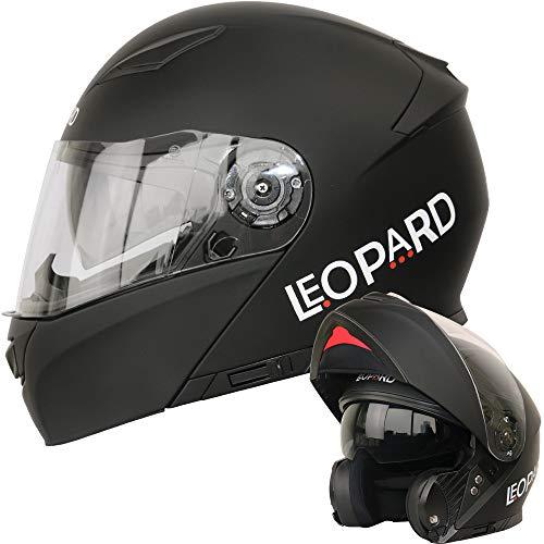 Leopard LEO-888 Klapphelm Integralhelm mit Doppelvisier #1 Mattschwarz XXL (63-64cm) Motorradhelm Damen und Herren ECE Genehmigt