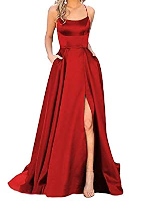 PRODUCT FEATURES: Long Prom Dresses, Halter, A-Line, Spaghetti Straps, Satin , with Pockets, Slit, Elastic Back, Sleeveless, Corset/Criss-cross Back, Plus Size, Built In Bra, Floor Length. IMPORTANT NOTE:Selecting this dress is mainly based on your B...