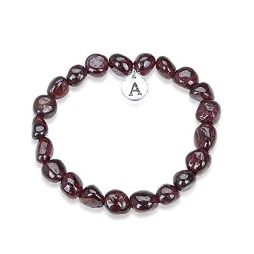 Adabele 1pc Natural Garnet Gemstone Beaded Bracelet 7.5 inch...