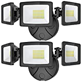 Onforu 2 Pack 50W LED Flood Light Outdoor, 5000LM LED Security Light Fixture with 3 Adjustable Heads, IP65 Waterproof, 5000K Switch Controlled Wall Mount Security Light for Eave, Exterior Garden
