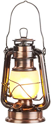 Lunartec Sturmlampe: LED-Sturmlaterne mit Flammen-Effekt, 25 cm Höhe, bronzefarben (Garten LED Deko Beleuchtung)