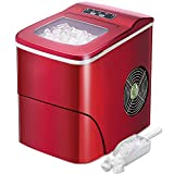 AGLUCKY Counter top Ice Maker Machine,Compact Automatic Ice Maker,9 Cubes Ready in 6-8 Minutes,Portable Ice Cube Maker with Scoop and Basket,Perfect For Home/Kitchen/Office/Bar (Red)