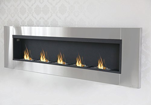 Druline Bio Ethanol Wall Fireplace Cheminée Gel Fireplace Fireplace Table Fireplace 190 cm – 5 Burners Stainless Steel