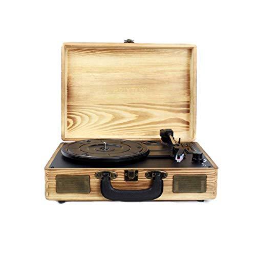 PRIXTON - Platine Disque Vinyle Vintage, Lecteur Vinyle et Lecteur de Musique Via Bluetooth et USB, 2 Haut-Parleur Intégré, Design de Valise, Couleur Bois | VC400