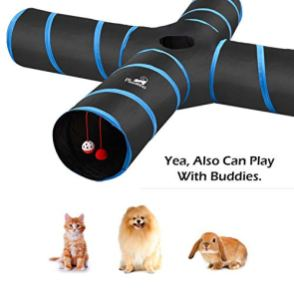 Pawaboo-Cat-Toys-Cat-Tunnel-Tube-4-Way-Tunnels-Extensible-Collapsible-Cat-Play-Tent-Interactive-Toy-Maze-Cat-House-with-Balls-and-Bells-for-Cat-Kitten-Kitty-Rabbit-Small-Animal-Black-Light-Blue
