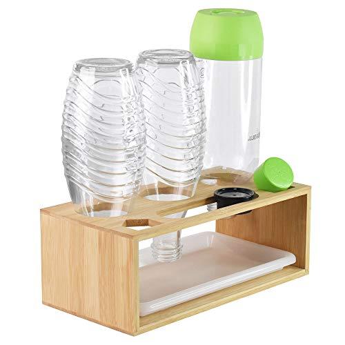 Annvchi Sodastream Flaschenhalter, Soda Stream Glasflaschen Abtropfhalter Bambus, mit Abtropfschale und Pinsel, Geeignet für Eine Vielzahl von Flaschen, für z.B Soda Stream Crystal & Emil Flaschen