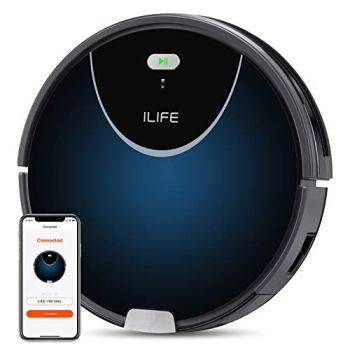 ILIFE V80Max Robot Vacuum,Wi-Fi Connected,2000Pa Max Suction,Big 750ml Dustbin,Enhanced Suction Inlet,Zigzag Cleaning Path,Self-Charging, Schedule, Ideal for Hard Floor