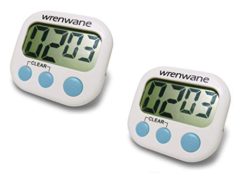 Wrenwane Digital Kitchen Timer (Upgraded), No Frills, Simple Operation, Big Digits, Loud Alarm, Magnetic Backing, Stand, White (Pack of 2)