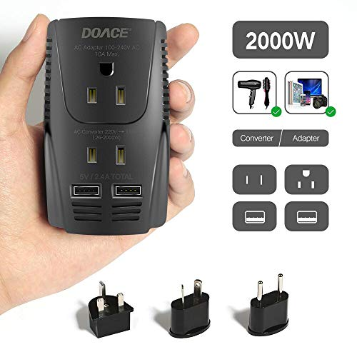 Upgraded DOACE C11 2000W Travel Voltage Converter for Hair Dryer Straightener Curling Iron, Step Down 220V to 110V, 10A Power Adapter with 2 USB and EU/UK/AU/US Plugs for Laptop Camera Cell Phone