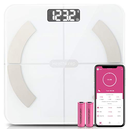 Body Fat Scale Smart BMI Scale Digital Bathroom Wireless Weight Scale, Body Composition Analyzer with Smartphone App sync with Bluetooth, 396 lbs - White 1