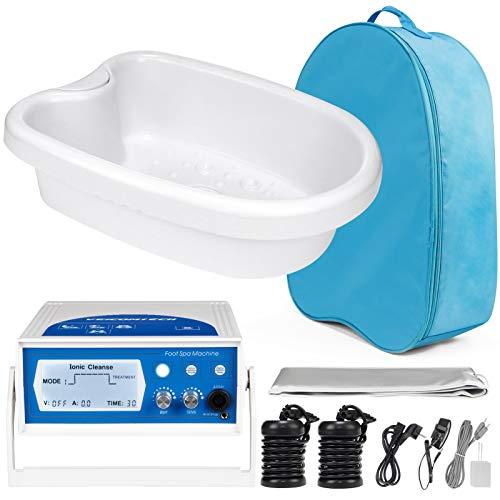 veicomtech 2021 Upgrade Ionic Foot Bath Detox Machine, Foot Detox Machine Detox Foot Spa with Basin, 2 Arrays, Far Infrared Waist Belt, 2 TENS Pads, 1 Blue Bag