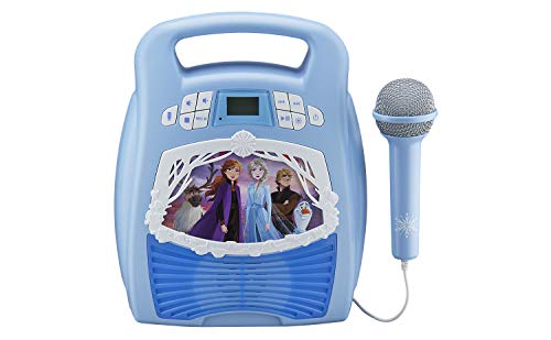 eKids Frozen 2 Bluetooth Portable MP3 Karaoke Machine Player with Light Show and Recording