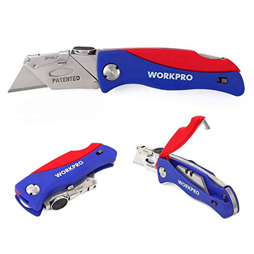 WORKPRO Folding Utility Knife Quick-change Box Cutter, Blade Storage...