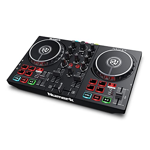 Numark Party Mix II - Console DJ, Set da DJ per Principianti con Luci Discoteca e Mixer Audio per Serato DJ Lite e Algoriddim djay Pro AI