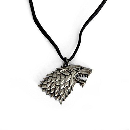 Juego de Tronos - escudo casa Stark Lobo Huergo -cadena - regalo para los fans de la serie producto oficial