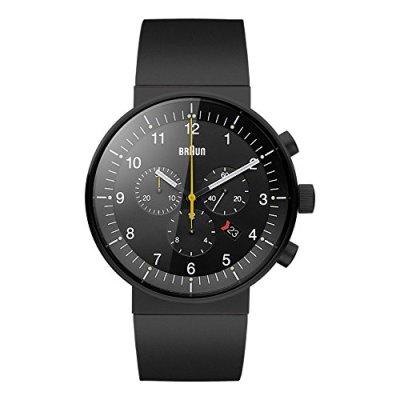 Braun Men's BN0095BKBKBKG Prestige Chronograph Analog Display Swiss Quartz Black Watch