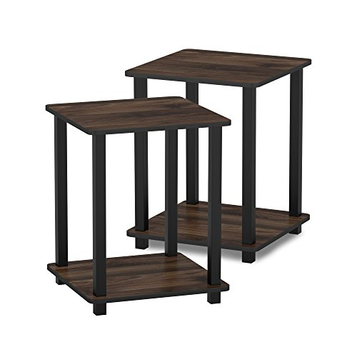 FURINNO Simplistic End Table, Columbia Walnut/Black