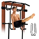 REDLIRO Pull Up Door Bar for Home Chin-Up Doorway Strength Training with Dip bar Multi Gym Pro Hanging Workout Equipment Trainer Indoor Bonus Suspension Straps
