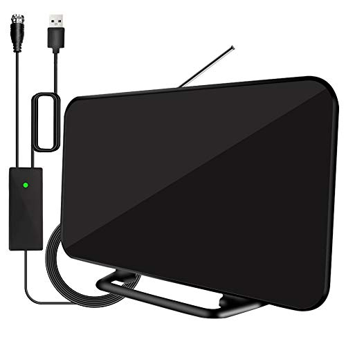 2020 Newest Digital HD TV Antenna 180+ Miles Long Range with Powerful Built-in Amplifier, Indoor HD TV Antenna with 19.6ft Long Coax Cable,Support All Television for Free Local Channels 4K HD 1080P VH