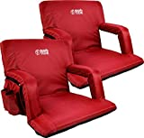 Brawntide Stadium Seat with Back Support - 2 Pack, Extra Wide, Thick Padding, Reclining Back, Bleacher Strap, 4 Pockets, Ideal Stadium Chair for Sport Events, Camping, Concerts (Red, Regular Size)
