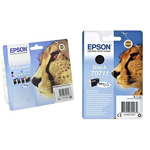 Epson, Multipack 4 Colori T0715, Cartucce Originali Epson, Durabrite Ultra Ink 2017 Series, Rfam & Epson T071 Serie Ghepardo, Cartuccia Originale Getto D'Inchiostro Durabrite Ultra