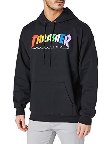 THRASHER Rainbow mag Sudadera, Black (Negro), XL Hombre