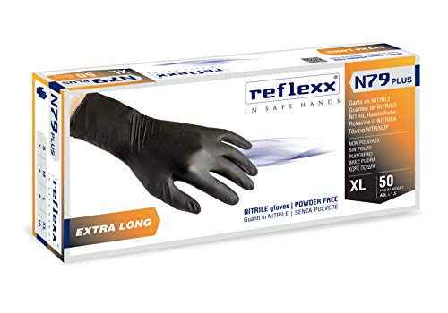 Reflexx N79P, Guanti in Nitrile senza Polvere Extra Lungo 30 Cm, Gr 7.7, 50 Pezzi, Nero