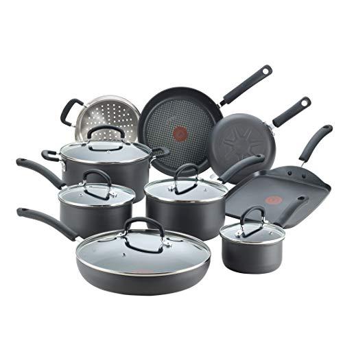 Product Image 1: T-fal E765SEFA Ultimate Hard Anodized Nonstick 14 Piece Cookware Set, Dishwasher Safe Pots and Pans Set, Black
