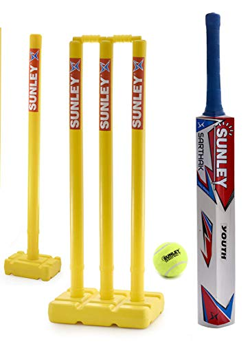 SUNLEY Sarthak Wooden Popular Willow Cricket Bat with 2 Wicket Set & 1 Tennis Ball/Cricket Set for Youth (Age 10-14 Years)