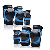 Protective Gear Set for Youth Knee Pads Elbow Pads Wrist Guards for Skateboarding Roller Skating Inline Skate Cycling Bike BMX Bicycle Scootering 6pcs (Blue, X-Large)
