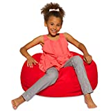 Posh Creations Bean Bag Chair for Kids, Teens, and Adults Includes Removable and Machine Washable Cover, 27in - Medium, Solid Red