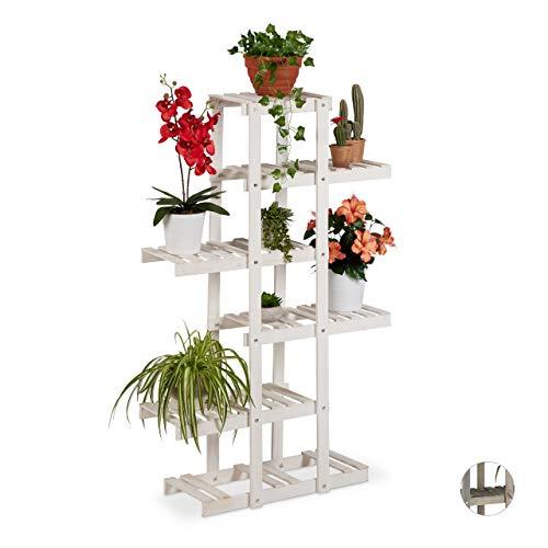 Relaxdays Blumenregal Holz, Blumentreppe 5-stufig, Pflanzenregal Innen, Pflanzentreppe Shabby, HxBxT: 125x81x25 cm, Weiß