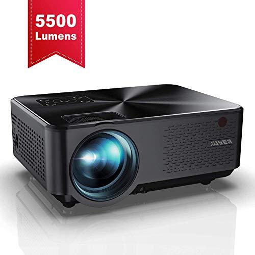 Beamer, YABER Mini Beamer 5500 Lumen Unterstützt 1080P Full HD, Projektor mit Sound HiFi Stereo Lautsprechern, Metallabdeckung, 65000 Stunden LED, Mini projektor für Film Unterhaltung Spiele