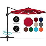 Best Choice Products 10ft 360-Degree LED Cantilever Offset Hanging Market Patio Umbrella w/Easy Tilt - Red
