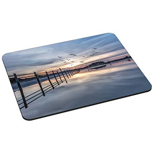 Pedea Gaming und Office Mauspad - 220 x 180 mm - mit Vernähten Rändern und Rutschfester Unterseite, Coastline