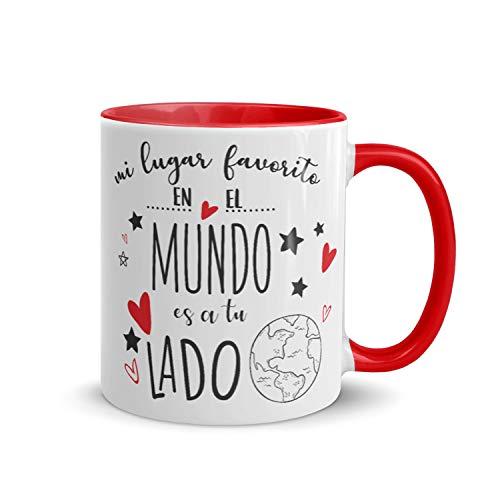 Kembilove Tazas de Desayuno para Parejas – Taza de Café Rojas con Mensaje Mi lugar favorito en el mundo es a tu lado – Regalos Originales para Regalar en San Valentín