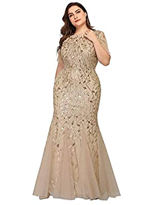 Not padded, with lining Plus size floral Sequin print fishtail tulle dresses Features: illusion neckline, mesh at top, embroidery decorated, floor-length mermaid dress. Occasions: formal party, evening party, bachelorette party, cocktail party, gala,...